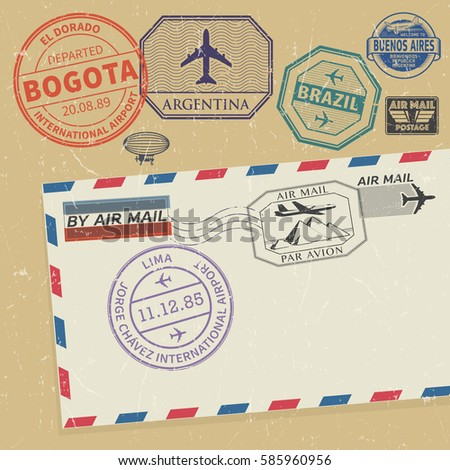 travel stamps set with the...
