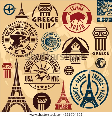 Travel stamps. Travel icons set. Travel labels collection.