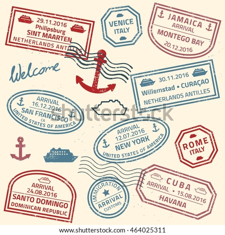 Grunge Travel Stamps Vector