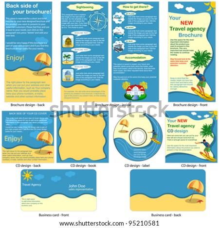 Travel stationary template - brochure design, CD cover design and business card design in one package and fully editable.