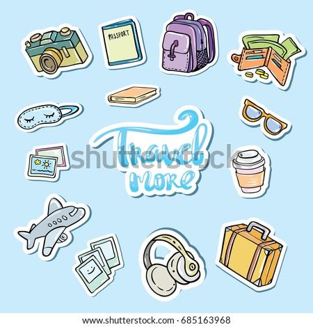 Travel sticker set. Icons travel