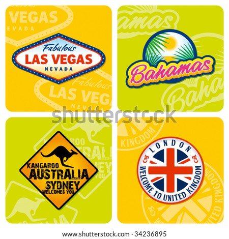 Travel stickers set. Vector - stock vector