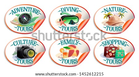 Travel stickers vector collection - nature tours, culture, family, diving, shopping tours and adventure tours