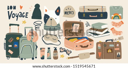 Travel stuff. Various luggage bags, suitcases, cosmetics, clothes. Vacation, holiday. Hand drawn vector set. Colorful trendy illustration. Cartoon style. Flat design. All elements are isolated