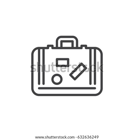 Travel suitcase outline icon, line vector sign, linear style pictogram isolated on white. Luggage symbol, logo illustration. Editable stroke. Pixel perfect
