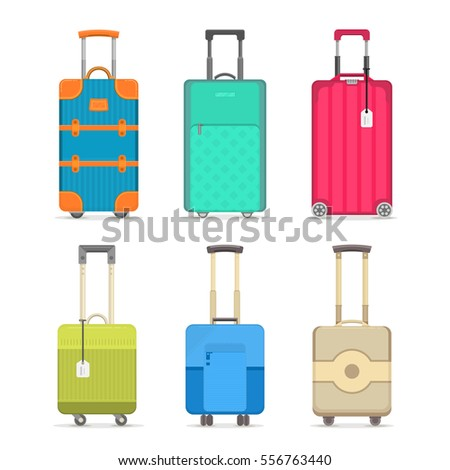 Travel suitcase set isolated on white background vector illustration. Journey package, colorful baggage, business travel bag, trolley backpack, trip luggage. Travel suitcase icon collection in flat.