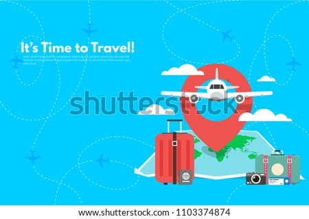 Travel suitcase with different travel elements. It's Time to Travel text. Travel concept background. Flat design vector illustration.