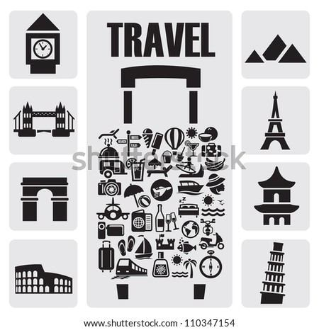 travel suitcase with many icon