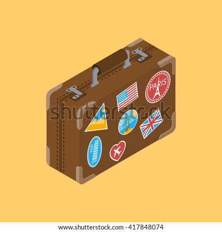 travel suitcase with stickers...