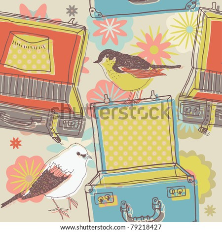 travel suitcases and birds. seamless print pattern