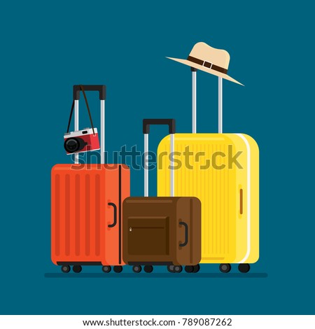 travel suitcases and hat camera isolated, Vector Illustration