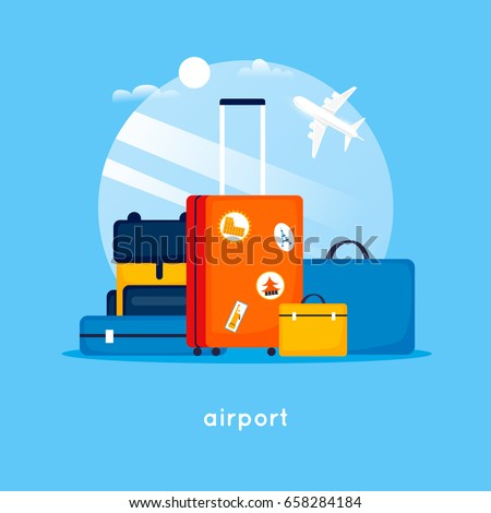 Travel suitcases at the airport. Flat design vector illustration.