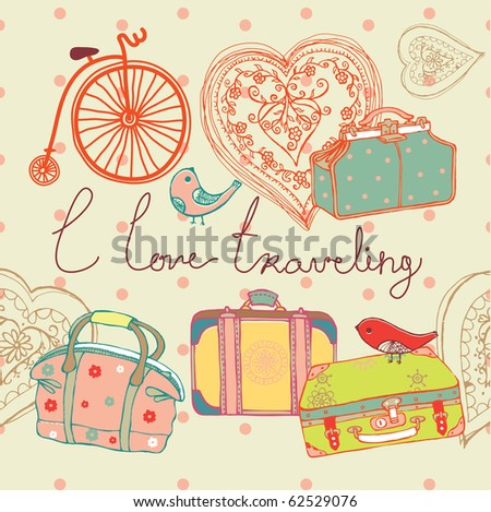 travel suitcases background