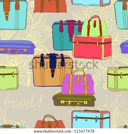travel suitcases seamless illustration,vector