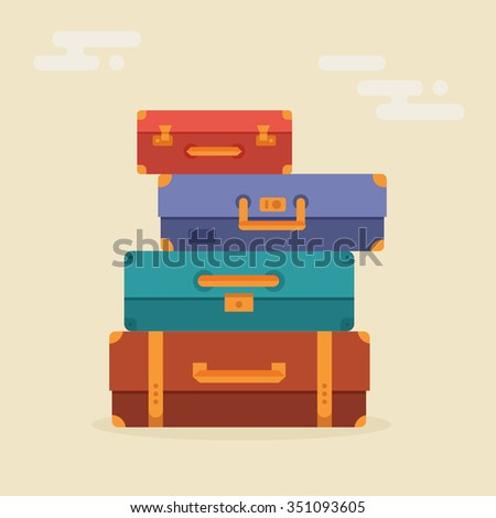 Travel suitcases stacked in a flat style isolated on a colored background. Illustration for travel, holidays, trips. Suitcases vacation.