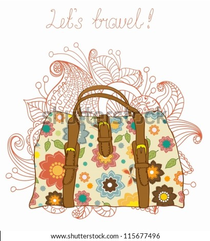 Travel Suitcases with floral pattern Background, illustration,vector