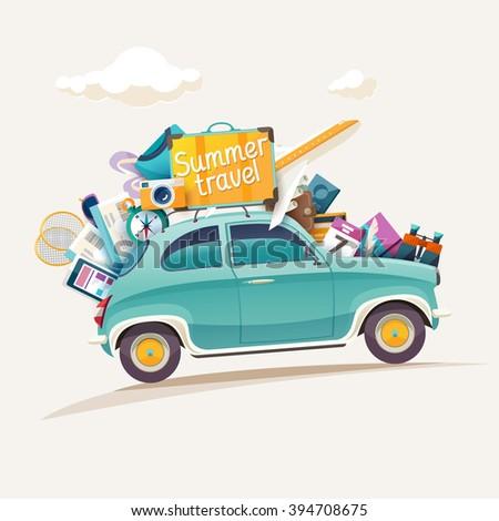 travel summer illustration with