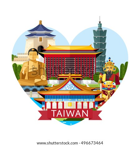 Travel Taiwan concept with Taiwan landmarks vector. Adventure in Asia. Taiwan Buddha icon. Famous Taiwan travel places. Explore Taiwan landmarks. Discover Taiwan and Taiwan culture. Oriental landmarks