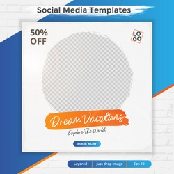 Travel template post for social media ads. Web banner for promotion.