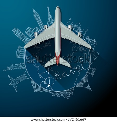 travel text and airliner on