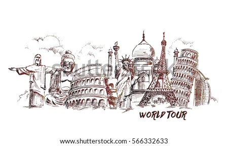 Travel The World Monument Concept Hand Drawn Sketch Vector Illustration