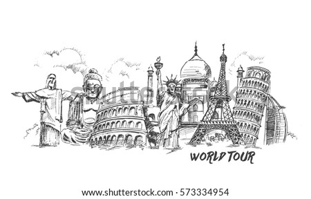 Shutterstock Travel the world monument concept, Hand Drawn Sketch Vector illustration.