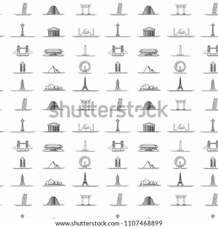 Travel theme seamless pattern with modern graphic thin line icons of world landmarks.