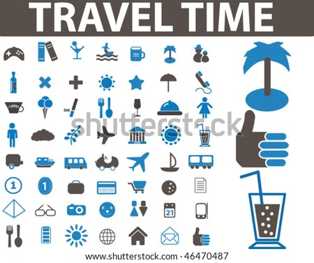 travel time signs. vector