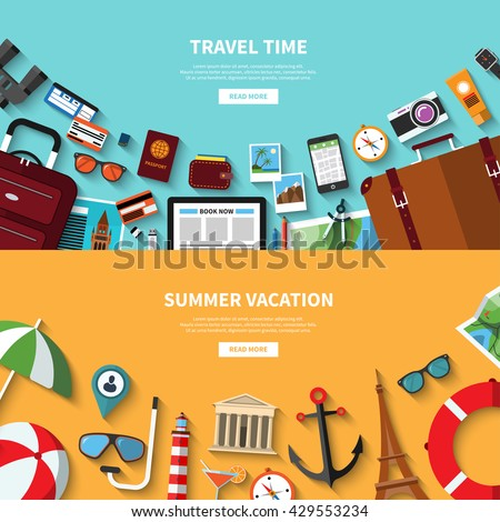 Travel time. Summer vacation. Vector concept banners in flat style with the set of traveling and tourism icons. Travel symbols, objects and accessories, passenger luggage and equipment