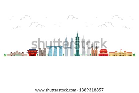 Travel to Asia. landmarks of Asia. Cityscape, buildings, attractions. Vector illustration