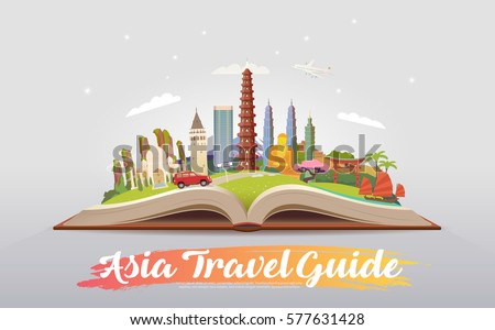 Travel to Asia. Road trip. Tourism. Open book with landmarks. Asia Travel Guide. Advertising web illustration. Summer vacation. Travelling banner. Modern flat design. EPS 10. #1