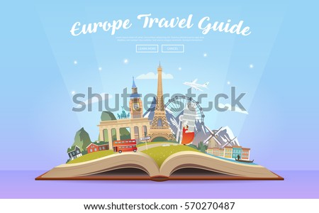 Travel to Europe. Road trip. Tourism. Open book with landmarks. Europe Travel Guide. Advertising web illustration. Summer vacation. Travelling banner. Modern flat design. EPS 10. #1