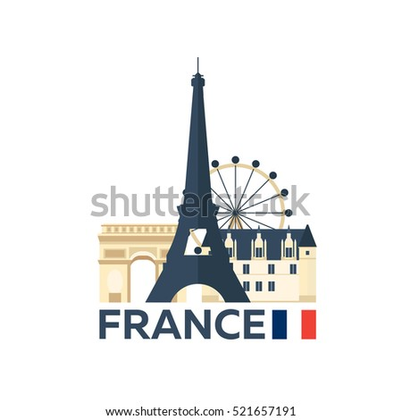 Travel to France, Paris skyline. Vector illustration.