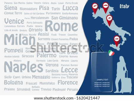 Travel to Italy concept with map of Italy silhouette of tourist woman and transparent rectangle ready for your text.  Names of the most famous destinations forms background.
