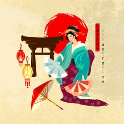 Travel to Japan. Collection of symbolic elements. Geisha. Template tradition and culture japanese travel background