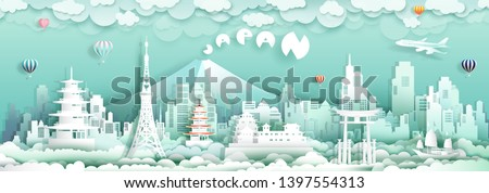 Travel to japan with panorama view landmarks of asian architecture culture city and tourism, Traveling landmark in Asia with paper cut origami style for travel poster and postcard, vector illustration