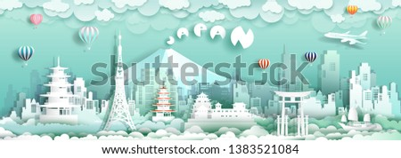 Travel to japan with sailboat landmarks of asian with architecture culture city and tourism, Traveling landmark in Asia with paper cut origami style for travel poster and postcard, vector illustration