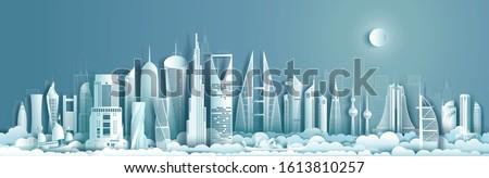 Travel to middle east landmarks of asia with modern architecture cityscape background. Tourism arab to Saudi arabia, Qatar, Bahrain, UAE, Kuwait, jordan, Business brochure design.Vector illustration