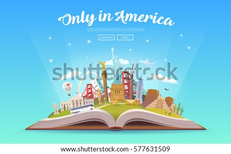 Travel to North America. Road trip. Tourism. Open book with landmarks. North America Travel Guide. Summer vacation. Travelling vector illustration. Only in America. Modern flat design. EPS 10. #3