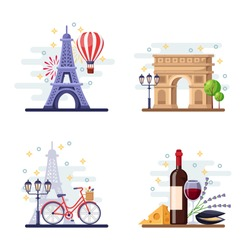 Travel to Paris vector flat illustration. City symbols, landmarks and food. France icons and design elements.