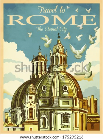 travel to rome poster   vintage ...