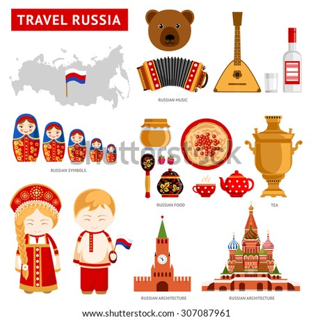 travel to russia set of icons