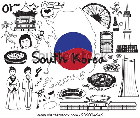 travel to south korean doodle