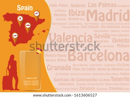 Travel to Spain concept with map of Spain, silhouette of tourist woman and transparent rectangle ready for your text.  Names of the most famous destinations forms background.