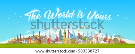 Travel to World. Road trip. Big set of famous landmarks of the world. Concept website template. Vector illustration. Web banner. Modern flat design. #1
