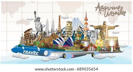 Travel to World. Road trip. Tourism. Landmarks on the globe. Concept  template. Vector illustration. banners design.