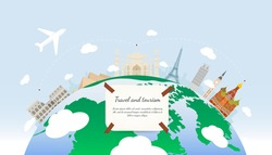 Travel to World. Road trip. Tourism. Landmarks on the globe.  Vector illustration.