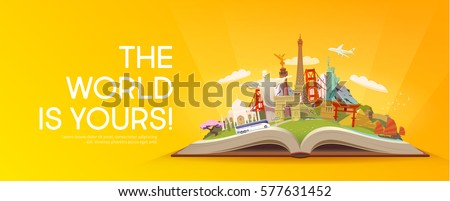 Travel to World. Road trip. Tourism. Open book with landmarks. Travelling vector banner. The World is Yours! Modern flat design. #8