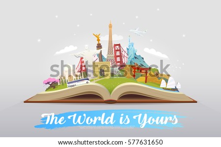 Travel to World. Road trip. Tourism. Open book with landmarks. Travelling vector illustration. The World is Yours! Modern flat design. #6