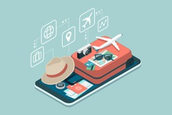 Travel, tourism and booking app: travel equipment and luggage on a mobile touch screen smartphone